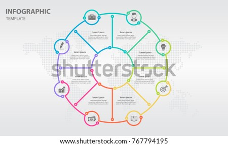Infographic thin line circle design 8 options.