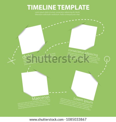 Infographic time report template with diagonal timeline and simple boxes