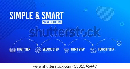 Infographic timeline. Laureate award, Market sale and Service icons simple set. Receive mail sign. Prize, Customer buying, Cogwheel gear. Incoming message. 4 steps layout. Vector