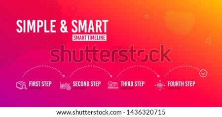 Infographic timeline. Operational excellence, Search package and Online documentation icons simple set. Parcel delivery sign. Corporate business, Tracking service, Web engineering. Vector