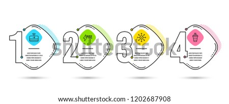 Infographic timeline 4 options or steps. Set of Contactless payment, Quickstart guide and Survey check icons. Takeaway sign. Financial payment, Lightning symbol, Correct answer. Timeline vector #1202687908