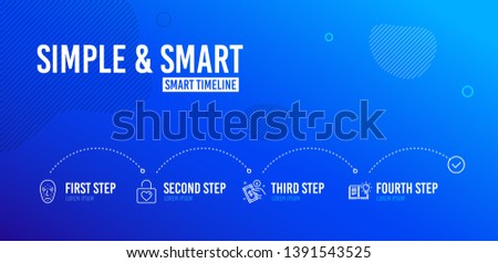 Infographic timeline. Payment method, Face biometrics and Wedding locker icons simple set. Product knowledge sign. Give money, Facial recognition, Valentines day. Education process. Vector