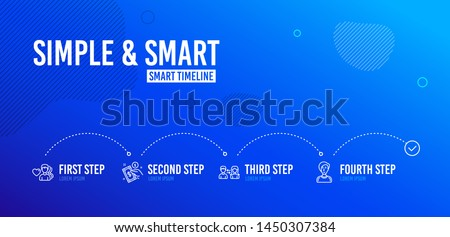 Infographic timeline. People communication, Payment method and Man love icons simple set. Businesswoman person sign. People talking, Give money, Female user. People set. 4 steps layout. Vector