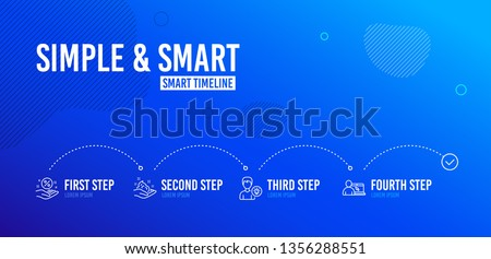 Infographic timeline. Person idea, Loan percent and Skin care icons simple set. Online education sign. Lamp energy, Discount hand, Hand cream. Internet lectures. People set. 4 steps layout. Vector