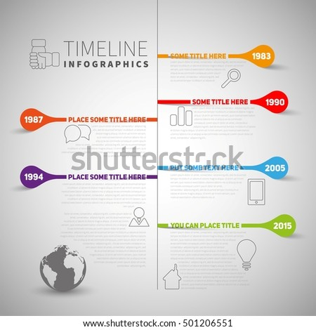 Infographic timeline report template with icons and labels, World map, Vector illustration