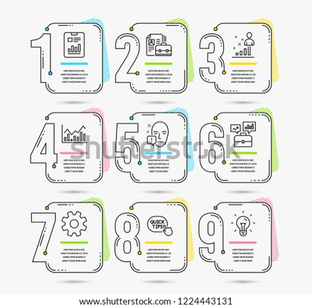Infographic timeline set of Service, Face attention and Quick tips icons. Infochart, Stats and Report document signs. Business portfolio, Vacancy and Idea symbols. Timeline vector