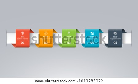 Infographic timeline template in the form of colored paper tapes. Vector banner with 5 options, steps, parts. Can be used for for web, workflow layout, time line, diagram, chart, graph Stock photo ©