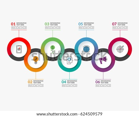 Infographic timeline template of 7 circular elements. Can be used for chart, graph, workflow layout, step by step infographics #624509579