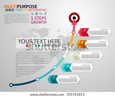 Infographic Timeline template with arrow and goal for multipurpose of use, business, workflow, diagram or web design. Consist of 5 options of step. Growth Concept.