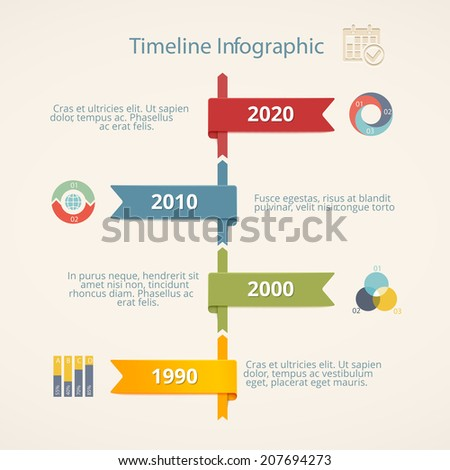 Infographic Timeline Vector Template With Icons And Charts ...