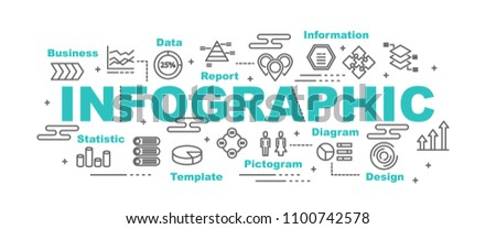 infographic vector banner design concept, flat style with icons