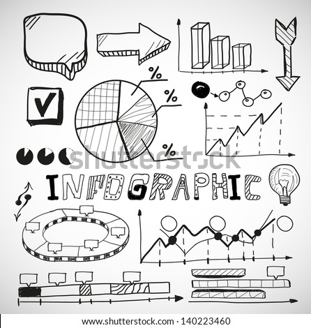 Infographic vector business graphs doodles