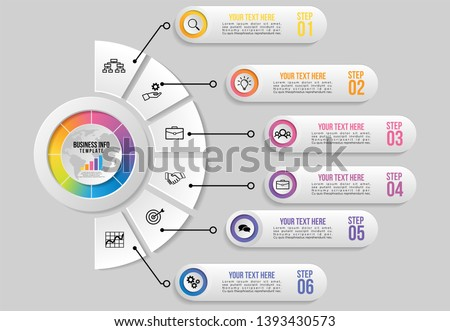 Infographic Vector Design Template. Business Data Visualization Timeline with Marketing Icons most useful can be used for presentation, diagrams, annual reports, workflow layout with 6 Options Steps