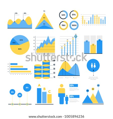 Infographic vector elements. Set of financial and marketing charts. Round and with percentages diagrams showing progress and regression. Color business graph report, information data statistic.