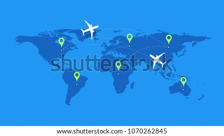 Infographic Vector Illustration With Planes, Dotted Direction Paths And Map Pointers Over Worldmap. Template For Plane Tracking Design.