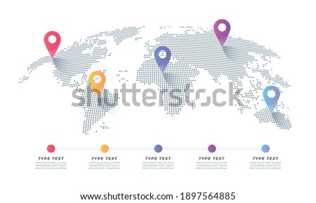 infographic vector world map with multiple locations. world map with color pointers and text. Simple World map infographic communication template with pointer marks