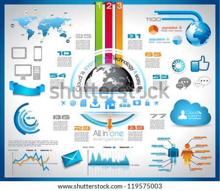 Infographic with Cloud Computing concept - set of paper tags, technology icons, cloud cmputing, graphs, paper tags, arrows, world map and so on. Ideal for statistic data display.