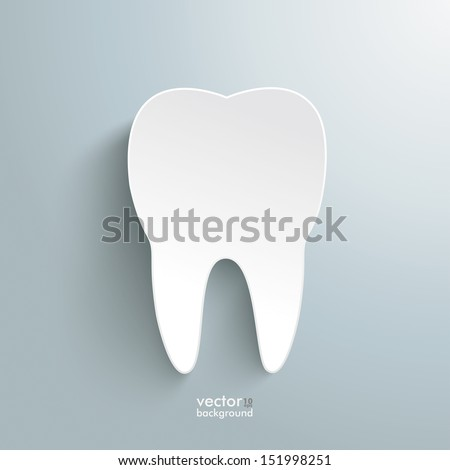 Infographic with white tooth on the grey background. Eps 10 vector file.