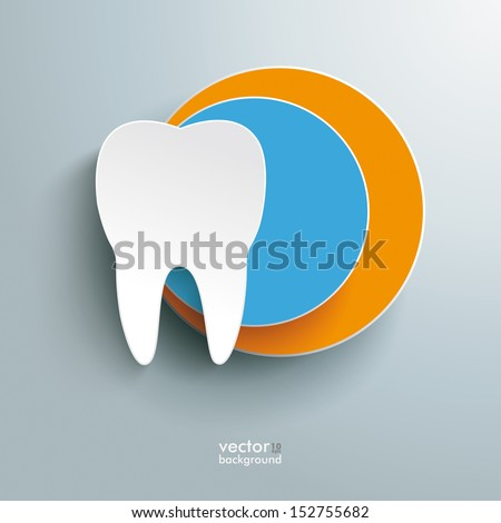 Infographic with white tooth on the grey background Eps 10 vector file