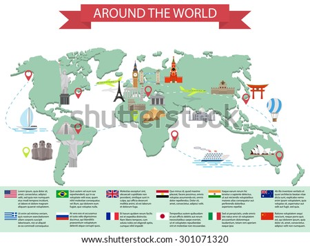 infographic world landmarks on