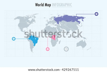 Infographic World Map Every Country And Continent Selectable