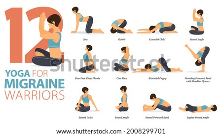 Infographic 12 Yoga poses for workout at home in concept of migraine warriors in flat design. Women exercising for body stretching with yoga chair. Yoga posture or asana for fitness infographic.Vector