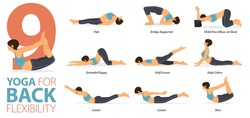 Infographic 9 Yoga poses for workout in concept of Back Flexibility in flat design. Women exercising for body stretching. Yoga posture, asana for fitness infographic. Flat Cartoon Vector Illustration.