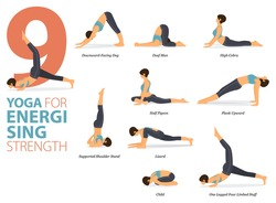 Infographic 9 Yoga poses for workout in concept of Energising Strength in flat design. Women exercising for body stretching. Yoga posture, asana for fitness infographic. Cartoon Vector Illustration