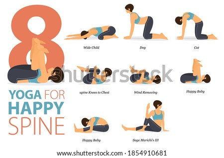 Infographic 8 Yoga poses for workout in concept of Happy Spine in flat design. Women exercising for body stretching. Yoga posture or asana for fitness infographic. Flat Cartoon Vector Illustration.