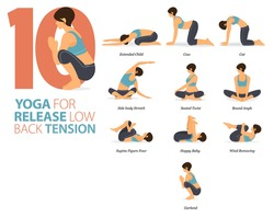 Infographic 8 Yoga poses for workout in concept of Release Low Back Tension in flat design. Women exercising for body stretching. Yoga posture or asana for fitness infographic. Flat Cartoon Vector.
