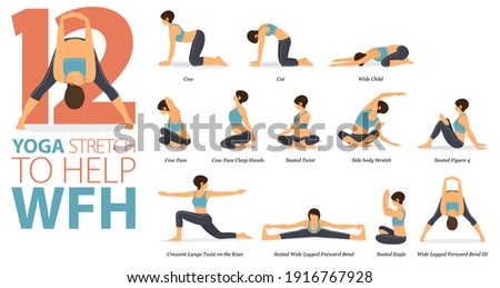 Infographic 12 Yoga poses for workout in concept of Stretch to help WFH in flat design. Women exercising for body stretching. Yoga posture or asana for fitness infographic. Flat Cartoon Vector.