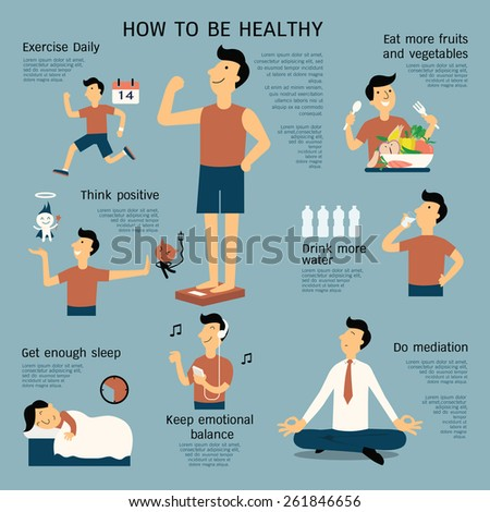Infographics about how to be healthy, flat design, cartoon character in simple design.