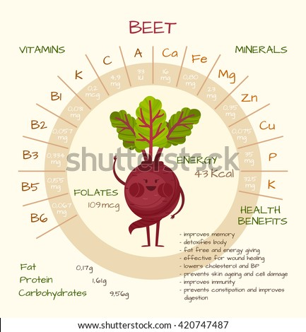 Infographics about nutrients in beet. Vector illustration about beet, vitamins, vegetables, health food, nutrients, diet. Vitamins and minerals. Health benefits of beet. Funny character.
