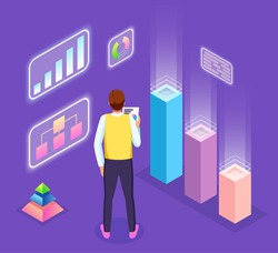 Infographics, analysis visual graphics, pyramid chart, man worker with document in hand, looking at statistics, growing graphs, analysing info, digital marketing, report, financial audit, seo