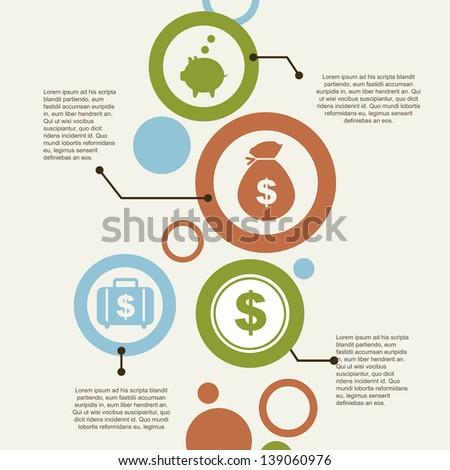 infographics and economics icons  over vintage background vector illustration