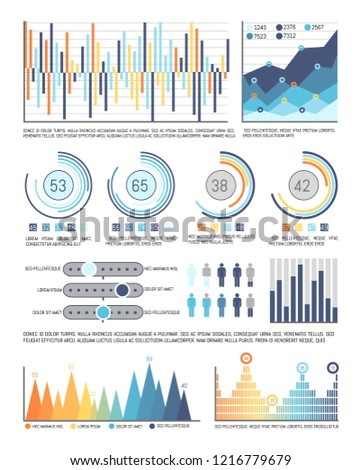 Infographics and pie diagrams with figures data vector. Tables and schemes with people population information. Circles flowcharts and infocharts