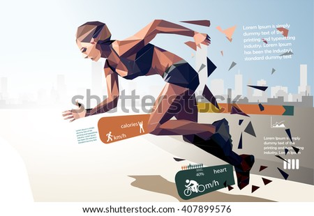 Infographics and statistics for running, with running women, sport statistical design in polygon design