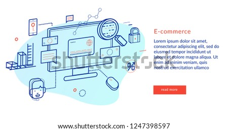 Infographics background E-commerce. Concept of e-commerce sales, online shopping, digital marketing and customer buying experience. Modern line style