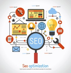 infographics background seo optimization. SEO concept. Set icons