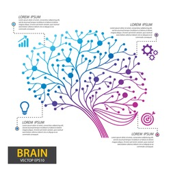 Infographics brain tree design. Digital Tree, technology, network, wireless, internet, communication, nature vector illustration.