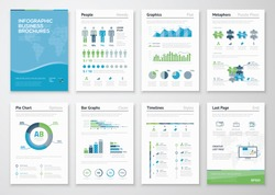 Infographics brochure elements for business data visualization. Vector illustration of modern info graphic metaphor in a flyer concept, that can be used for marketing, website, print, presentation etc