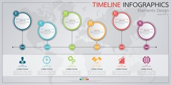 Infographics business horizontal timeline process chart template. Vector modern banner used for presentation and workflow layout diagram, web design. Abstract elements of graph 6 steps options.