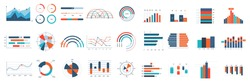 Infographics charts. Business diagrams, graphs and flowchart for workflow progress process. Finance annual report vector elements. Illustration flowchart and diagram, graph business workflow