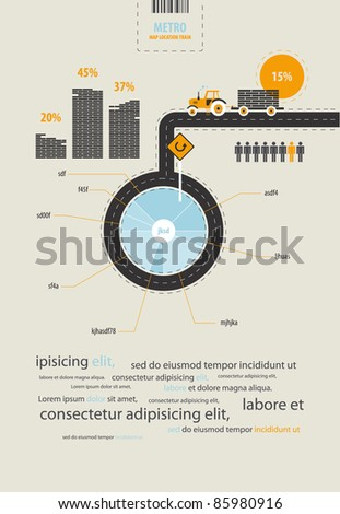 infographics circuit supplies load on the tractor - stock vector