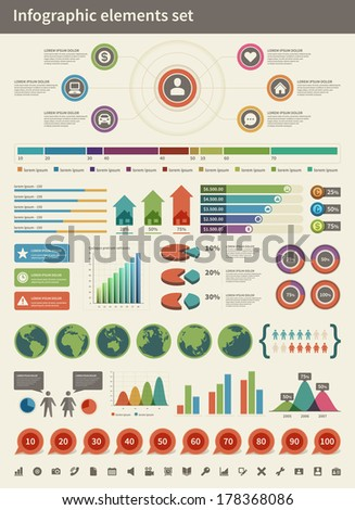 Infographics collection vector design elements Arrows graphs charts diagrams and world map