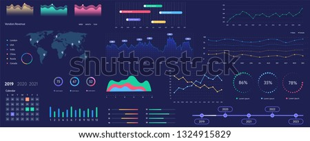 Infographics dashboard. Admin panel interface with color charts, graphs, calendar and charts on a dark background. Web design vector template graphics and charts infographics, vector illustration