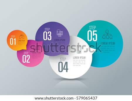 infographics design vector and marketing icons can be used for workflow layout, diagram, annual report, web design. Business concept with 5 options, steps or processes.