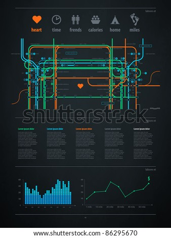 infographics element with a map of the city or metro
