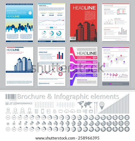 Infographics elements and Creative Brochure Template Design for real estate business. Abstract Vector Flyer, Pamphlet, Leaflet layout for marketing, advertising Posters, Placards, Backgrounds.