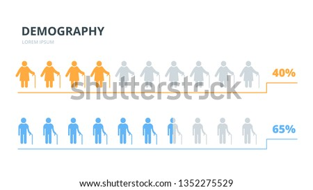 Infographics elements elderly people
